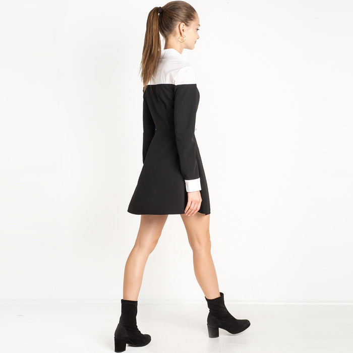 Chicloth Two toned Long sleeve Shirt Dress-Chicloth