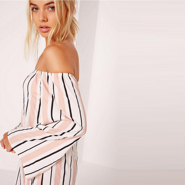 Chicloth Striped Off the shoulder Loose Dress-Chicloth