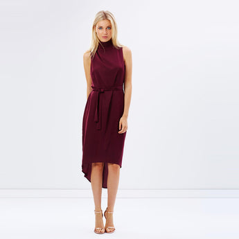 Chicloth Burgundy High Low Dress