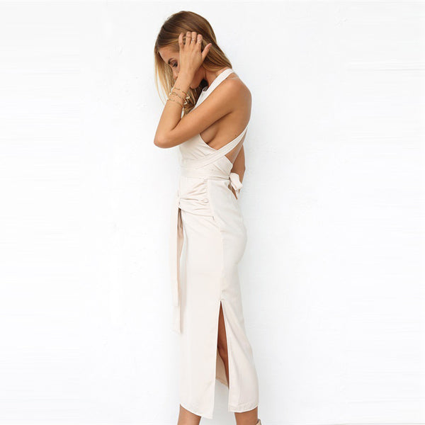 Chicloth Backless White Bodycon Dress