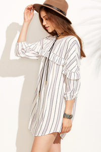 Chicloth Striped 3/4 Sleeve Shirt Dress - Chicloth