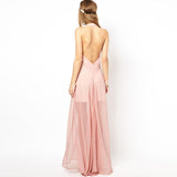 Chicloth Open Back Deep V-Neck Dress