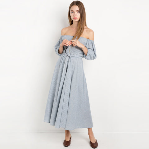Chicloth Trendy Striped Off-the-shoulder Dress