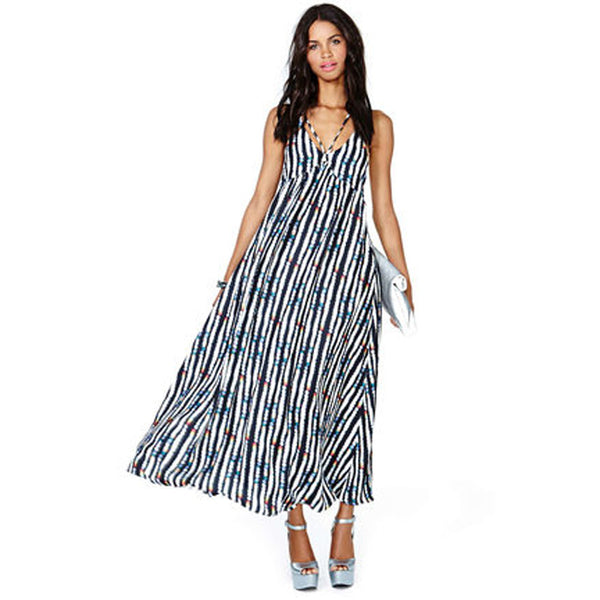 Chicloth Backless Striped Maxi Dress