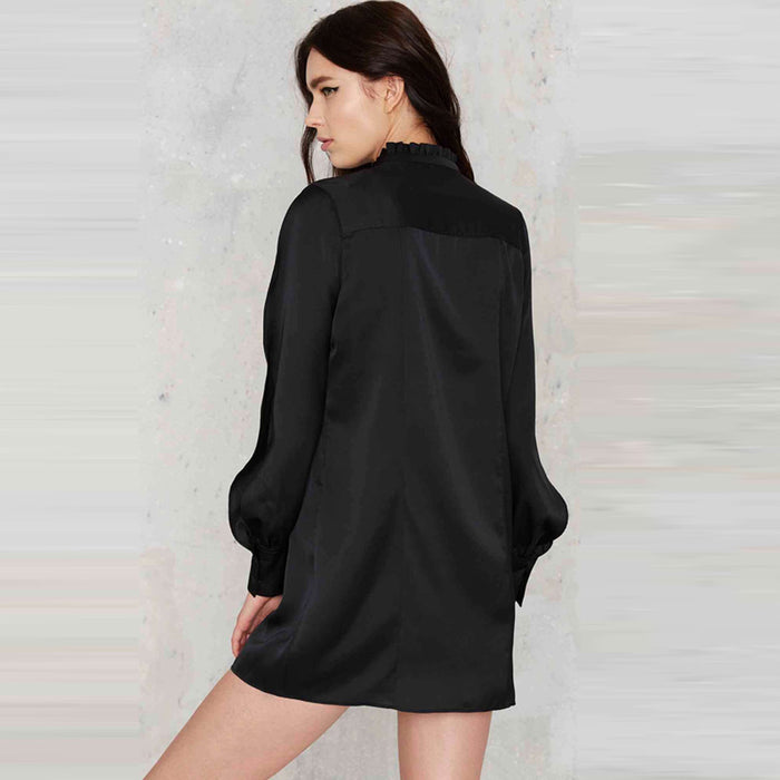 Chicloth Bare Long Shoulder Black Shirt Dress-Chicloth