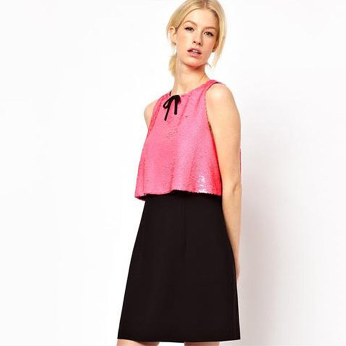 Chicloth Pink sequined Two toned Dress-Chicloth