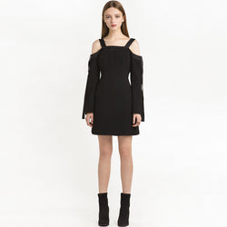 Chicloth Bare shoulder Black Mini Dress