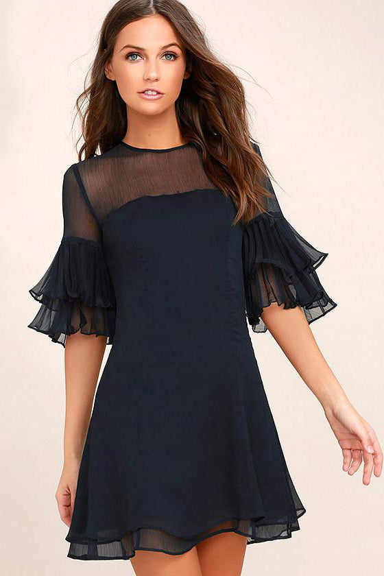 Chicloth Lotus leaf sleeves Black Dress-Chicloth