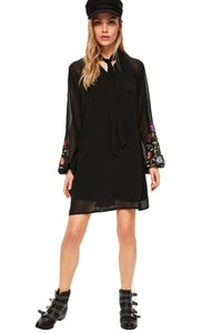 Chicloth  Black Floral Print Long Sleeve Dress - Chicloth