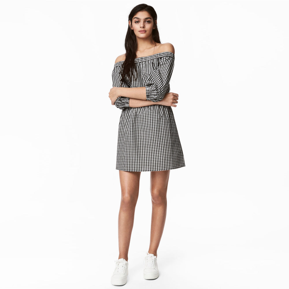 Chicloth Off The Shoulder Black and white lattice Dress-Chicloth