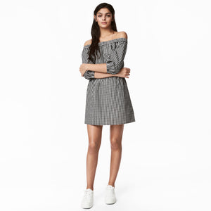 Chicloth Off Shoulder Black and white lattice Dress