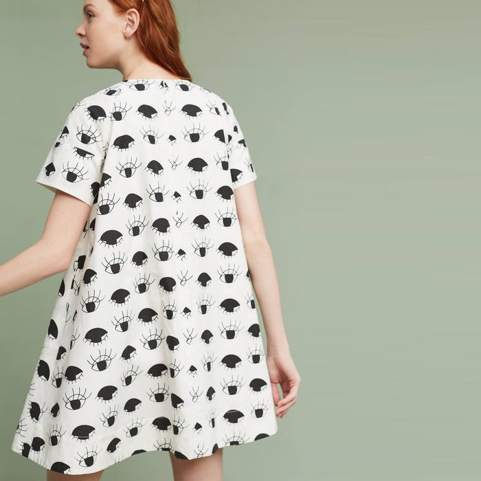 Chicloth White Black Middle Sleeve Dress-Chicloth
