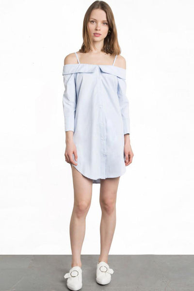Chicloth A Shoulder Blue T-shirt Dress - Chicloth