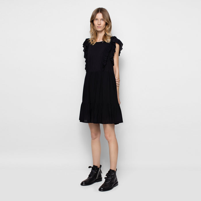 Chicloth Ruffle Sleeve Little Black Dress-Chicloth
