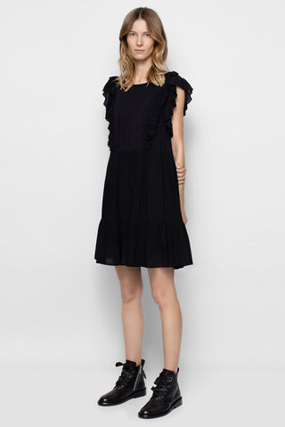 Chicloth Ruffle Sleeve Little Black Dress - Chicloth