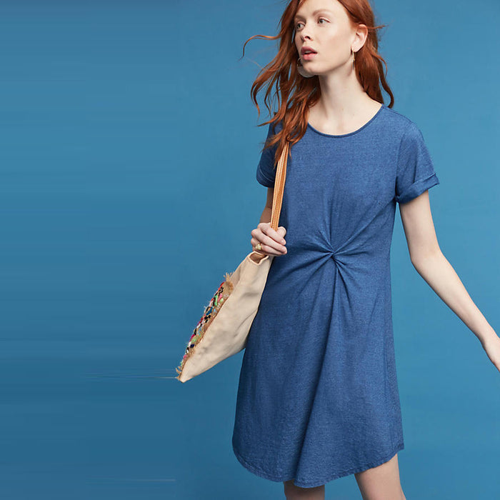 Chicloth Short Sleeve Blue Dress-Chicloth