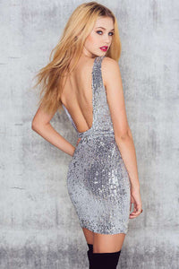 Chicloth Backless Silver Bodycon Dress - Chicloth