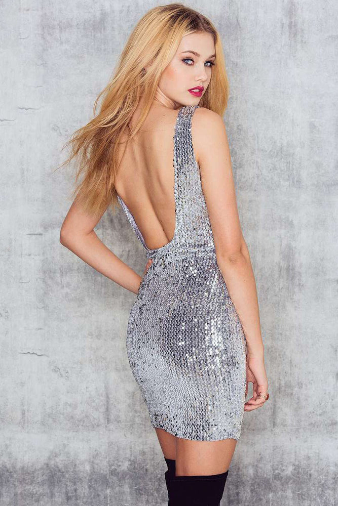 Chicloth Backless Silver Bodycon Dress-Chicloth