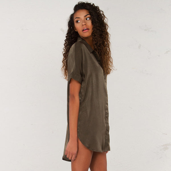 Chicloth  Short Sleeve Gray T-Shirt Dress