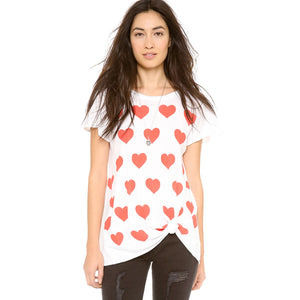 Chicloth Heart-shaped printing Short Sleeve Shirt