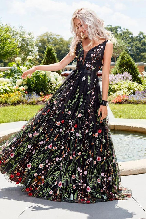 A| Chicloth Black Floral Embroidered Prom Dress