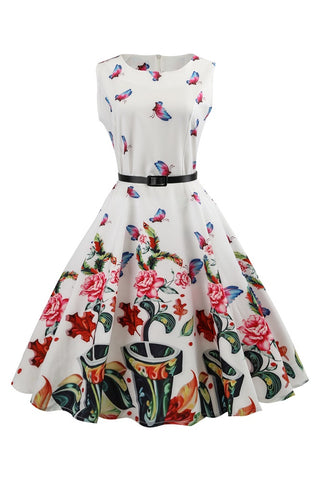 B| Chicloth Fresh Solid White Women Dress Butterfly Printed Black Summer Dress - Chicloth