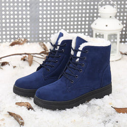 [Winter Fashion] Women's Flats Closed Toe Boots Flat Heel Flocking Shoes