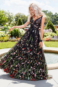 B| Chicloth Black Floral Embroidered Long Boho Prom Dresses UK
