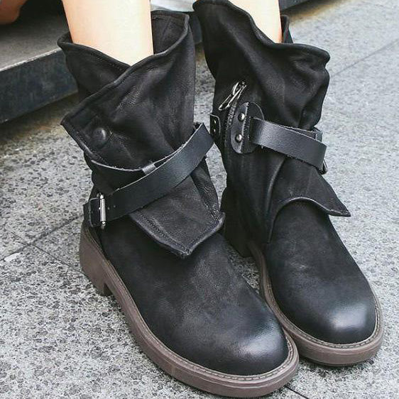 A| Chicloth Vintage Low-heel Bandage Boots Shoes