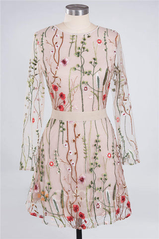 B| Chicloth Embroidered Sheer Mesh Dress Transparent Flowers Dress