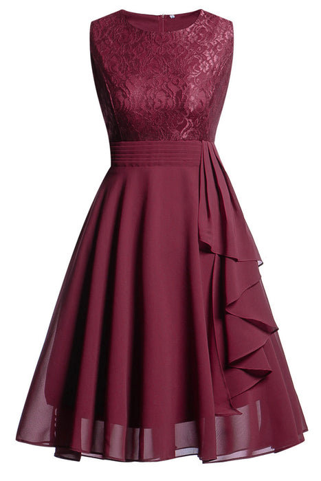 A| Chicoth Women Vintage Sleeveless Ruffles Belt Floral Lace Bridesmaid Chiffon Dress(In Stock)-Chicloth