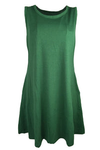 AA| Chicloth Solid Color Sleeveless Women Shift Dress-Chicloth