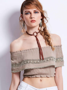 Chicloth Elegant Off-the-shoulder Crop Top - Chicloth