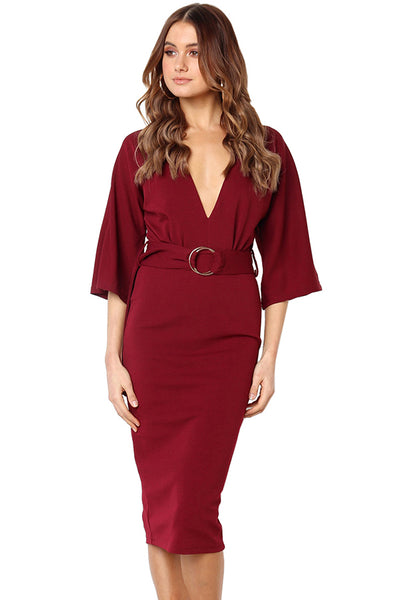 A| Chicloth Half Sleeve Length Burgundy Midi Dresses-Midi Dresses-Chicloth