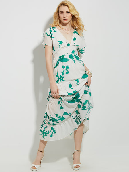 Chicloth V-neck Floral Print Dress