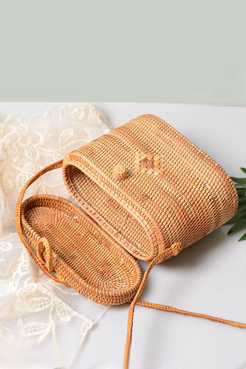 B| Chicloth Handmade Round Rattan Bags Beach Straw Bag-bags-Chicloth