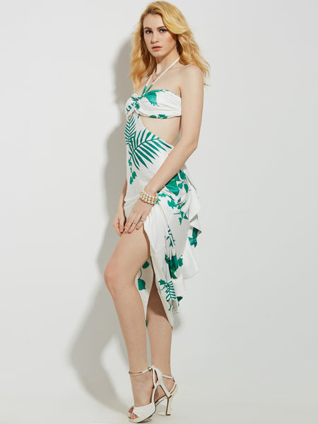 Chicloth Open Back Floral Print Dress