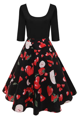 B| Chicloth Mid Calf Ball Gown O Neck Party Dress Strawberry Printed Vintage Dress - Chicloth