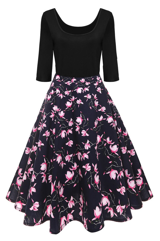 B/ Chicloth Black Bodycon Women Dress Pink Floral Print O Neck Summer Dress - as picture / 4XL