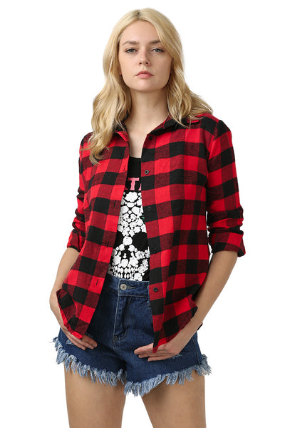 Chicloth New Wild Plaid Long Shirt Long Sleeve Casual Ladies Shirt