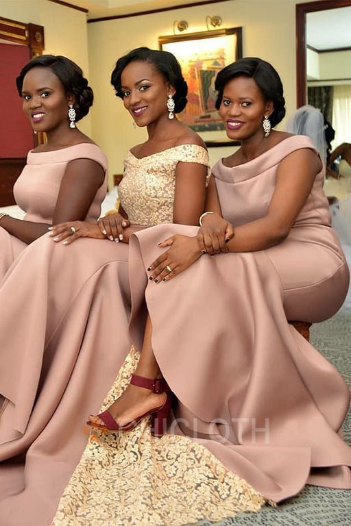 Chicloth Long Off The Shoulder Maid Honor Bridesmaid Dresses