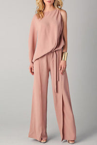 Chicloth Coral Solid Casual Summer Jumpsuit