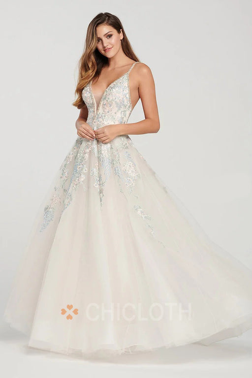 A| Chicloth Floral V-neck Tulle Prom Dresses