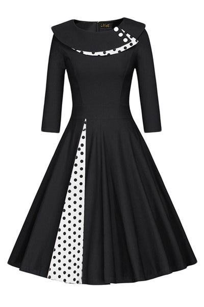 Chicloth 1950s Style 3/4 Sleeve Black Splice Flare A-Line Vintage Dress - Chicloth