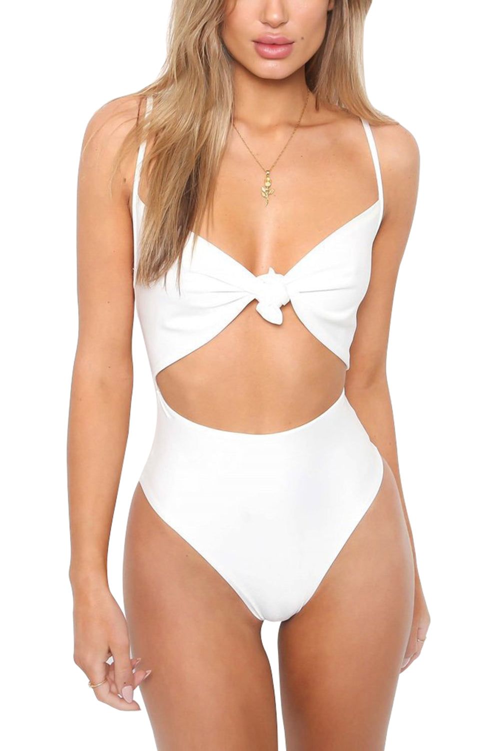 A| Chicloth Floral Print Halter Bandage One Piece-Chicloth