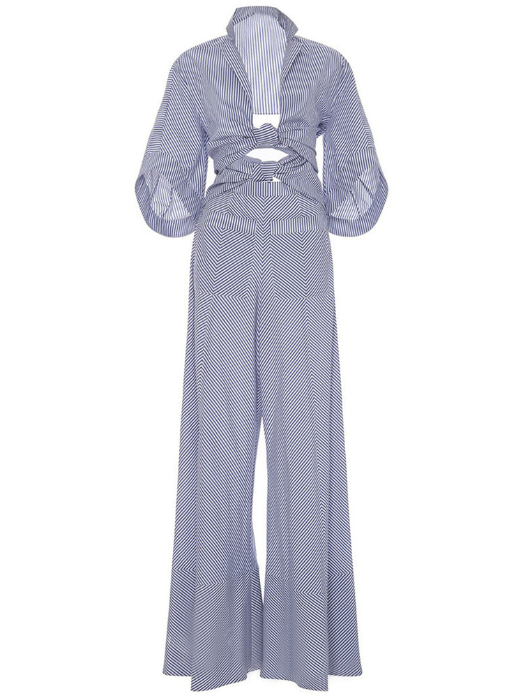 Chicloth Long Sleeve Striped Jumpsuit-Chicloth