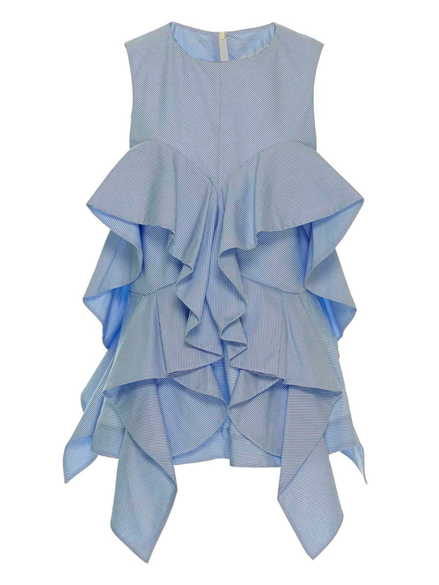 Chicloth Blue Sleeveless Lotus Leaf Irregular Edge Blouse - Chicloth