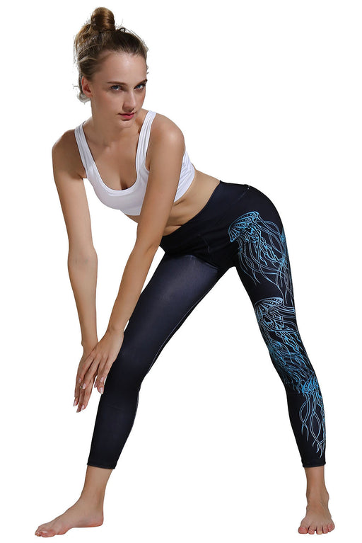 B| Chicloth Explosion Models 3D Digital Printing Jellyfish Blue Sports Fitness Pants-Sport Pants-Chicloth