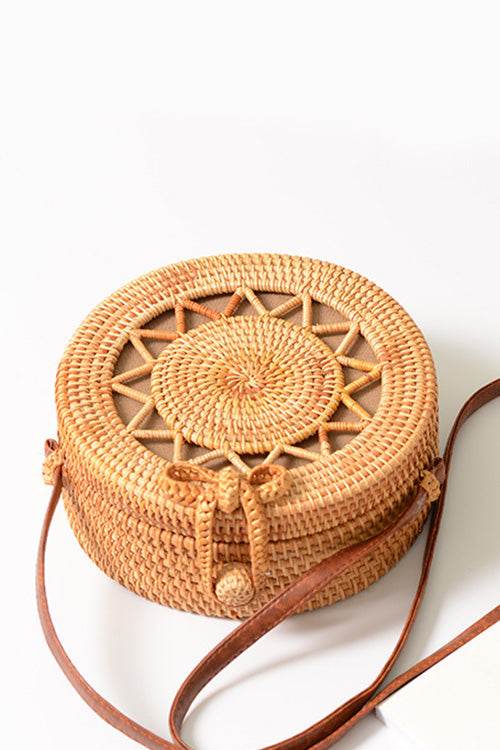 B| Chicloth Handmade Round Hollow Women Rattan Bags-Rattan Bags-Chicloth