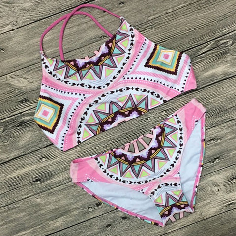 Chicloth Sexy Hanging Neck Geometric Patterns Print Bikini Set - Chicloth